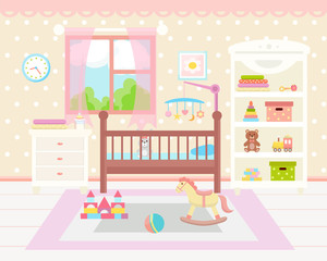 Baby room interior. Flat design. Baby room with a  shelf,  toys, cot and rug.