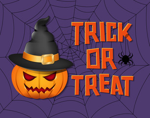 Pumpkin illustration and  'Trick or Treat' typography for halloween card design