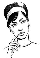 Retro styled ink drawing of a beautiful woman thinking hard