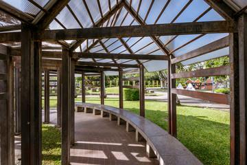 Garden pergola walk path