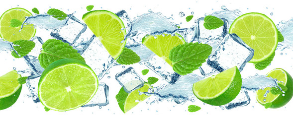 Lime splash and ice cubes