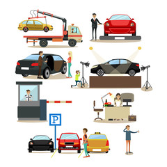 Vector icons set of cars and people dealing with them