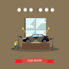 Car show concept vector illustration in flat style