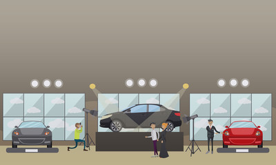 Car show vector illustration in flat style