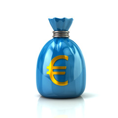 Blue money bag with Euro currency sign