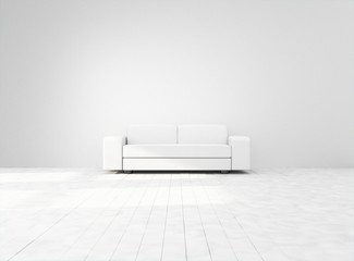 Empty white space with white couch. Mock-up template for display, products, title or logo. Studio or blank office space. 3d illustration