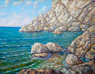 calm sea - original oil painting on canvas - part of gallery collection