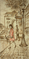 woman in red on bus stop - monochrome original painting on canvas part of gallery collection