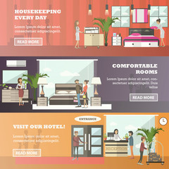 Vector set of hotel horizontal banners in flat style