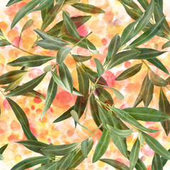 Seamless pattern of olive tree branches on watercolor texture