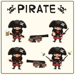 Set isolated pirate in cartoon style. Collection funny pirate in different poses with pistols, sword, beer mug and two guns.