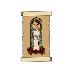 colorful background with canvas of virgin of guadalupe with floral ornament of roses vector illustration