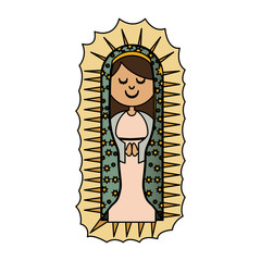 white background with colorful canvas of virgin of guadalupe vector illustration