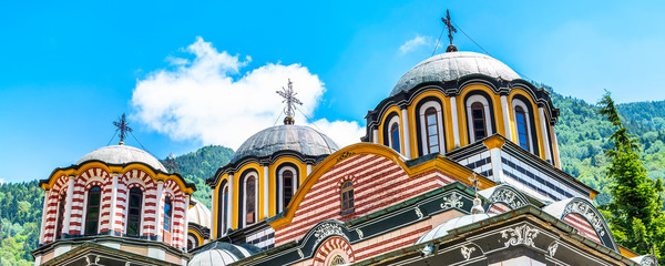 Partial view of church and dome in famous Rila Monastery, Bulgaria Wall mural