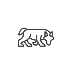 Wolf line icon, outline vector sign, linear style pictogram isolated on white. Symbol, logo illustration. Editable stroke. Pixel perfect