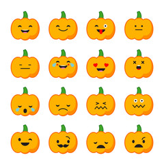 Emotions Pumpkin. Vector style smile icons.