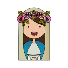 white background of colorful half body beautiful virgin with crown of roses vector illustration