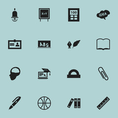 Set Of 16 Editable University Icons. Includes Symbols Such As Distance Learning, Basket Play, Calculator And More. Can Be Used For Web, Mobile, UI And Infographic Design.
