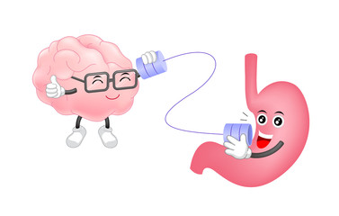 Cute human stomach talk to brain characters by can telephone. Cartoon  illustration isolated on white background. Healthy human stomach and brain characters, brain and stomach connection concept