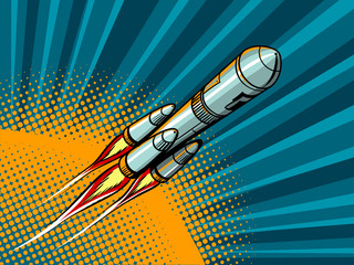 Rocket in space comic book style vector