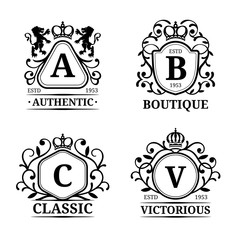 Vector monogram logo templates. Luxury letters design. Graceful vintage characters with crown and lions illustration.