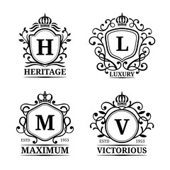 Vector monogram logo templates. Luxury letters design. Graceful vintage characters with crowns illustration.