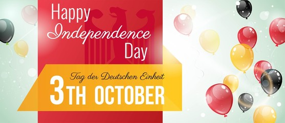 3 october.Germany Independence Day banner in national flag color theme. Celebration background  with flying balloons and text. Vector illustration