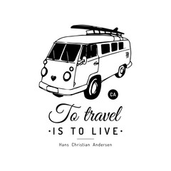surf photos royalty free images graphics vectors videos adobe Ken Prather V8 VW Bus to travel is to live vector typographic poster vintage hand drawn surfing bus sketch