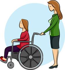 Girl Mom Kid Wheelchair