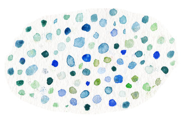 .Watercolor background with ink painted circles.  Hand drawn Blue Polka dots watercolour pattern.