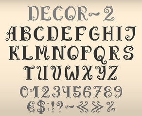 Vintage decorative english font with numbers and symbols. Vector set of letters with flourishes.