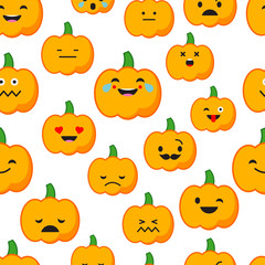 Seamless background with Pumpkin emotions. Vector illustration.