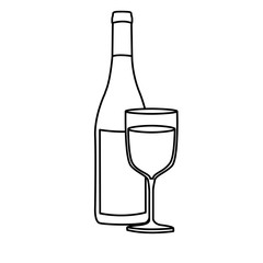 monochrome silhouette with bottle of wine and glass vector illustration