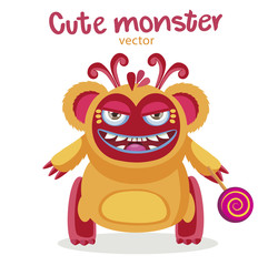Color Monster With Candy. Ethnic Colorful Monster Funny Character With Lollipop. Cartoon Monster Mascot Vector Illustration On A White Background.