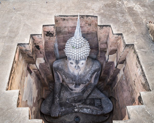 Sukhothai Historical Park in Sukhothai, Thailand. Aerial view from flying drone