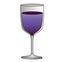 colorful silhouette of glass of wine with purple wine and delineated vector illustration