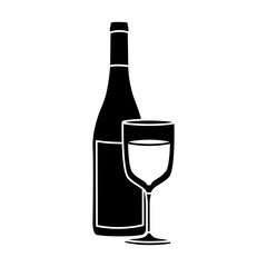 black silhouette with bottle of wine and glass vector illustration