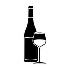 black silhouette with bottle of wine and burgundy glass vector illustration