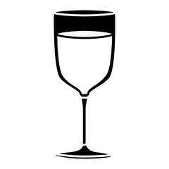 black silhouette of glass cup of champagne vector illustration