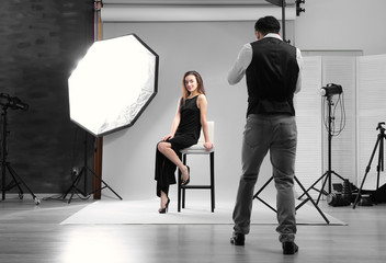 Model posing for professional photographer at studio