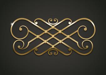 Vintage gold vignette or forged lattice, interior decor. Vector graphics