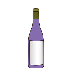 light coloured silhouette with bottle of purple wine vector illustration