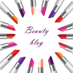 Realistic image of lipstick of different colors arranged in a circle on a white background, vector image