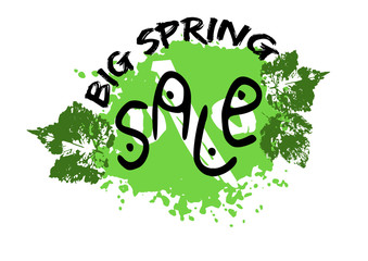 Grunge sale poster with green spring splash, prints of leaves and stylized captions on white background. Vector illustration