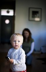 Baby girl holding smartphone