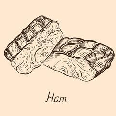 Ham, hand drawn doodle, simple sketch in pop art style, vector