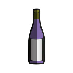 light coloured silhouette with bottle of purple wine with half shadow vector illustration