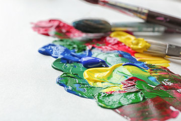 Colorful oil paints on paper, closeup