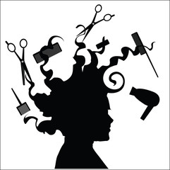 Silhouette head with the hair for hairdressing tool, vector illustration