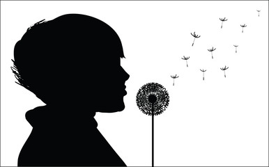 Picture of a girl who breathes fluff dandelions, vector illustration